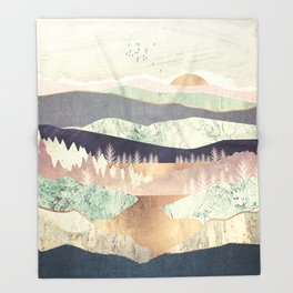 Golden Spring Reflection Throw Blanket