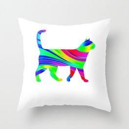 Rainbow Square Cat Inverted 5 Throw Pillow