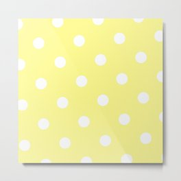 Yellow and White Polka Dot Metal Print