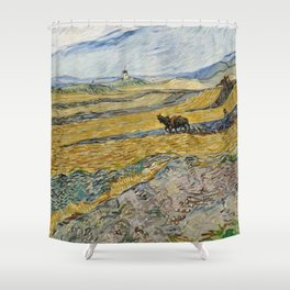 "Vincent van Gogh ""Enclosed field with ploughman"" Shower Curtain"