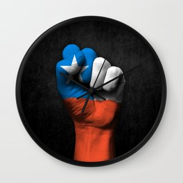 Chilean Flag on a Raised Clenched Fist Wall Clock