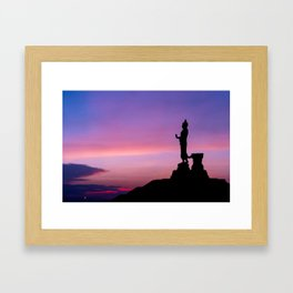 Silhouette of big statue of Buddha Framed Art Print