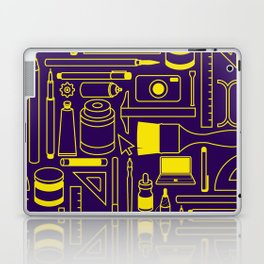 Art Supplies - Eggplant and Yellow Laptop & iPad Skin