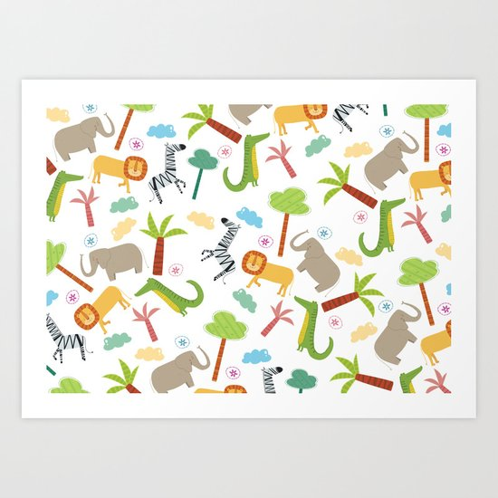 A HAPPY DAY  IN JUNGLE Art Print
