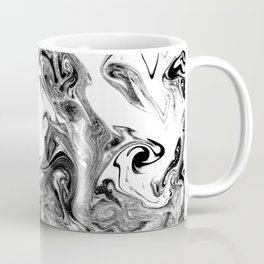 Suminagashi black and white marble spilled ink ocean swirl watercolor painting Coffee Mug