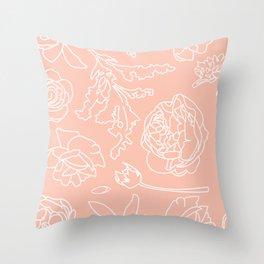 Peony Print (Peach) Throw Pillow