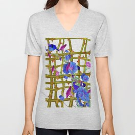 BLUE MORNING GLORIES THORN LATTICE DESIGN Unisex V-Neck