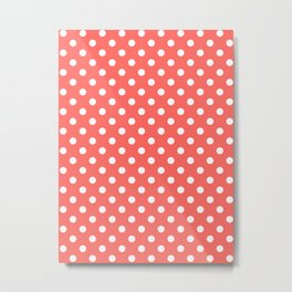 Small Polka Dots - White on Pastel Red Metal Print