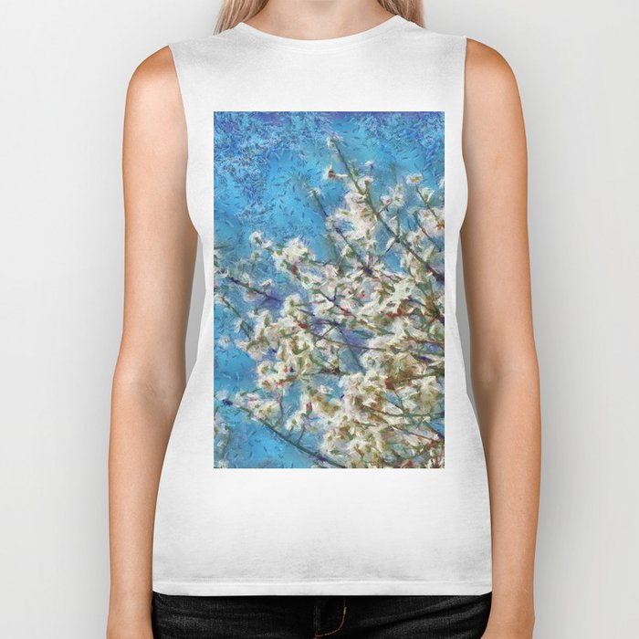 Blossom and Blue Sky In Monet Style Biker Tank