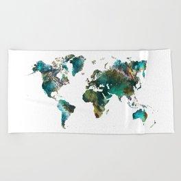 Map of the World tree #map #world Beach Towel