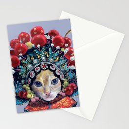 peking opera cat Stationery Cards