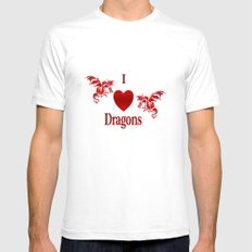 I Heart Dragons White SMALL Mens Fitted Tee