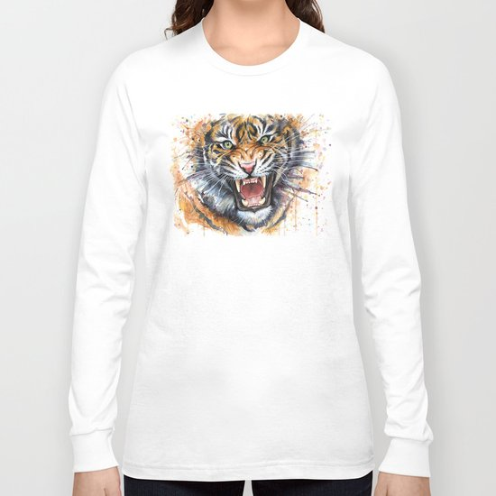 Tiger Roaring Wild Jungle Animal Long Sleeve T-shirt