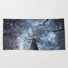 Wintry Trees Galaxy Skies Steel Blue Beach Towel