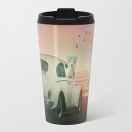 NEVER STOP EXPLORING A SUNDOWN Travel Mug