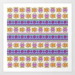 Floral Ikat Pattern Art Print