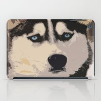 duvet cover iPad Cases featuring DOG DUVET COVER by aztosaha