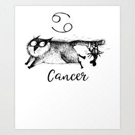 Funny Cancer Cat Zodiac July Shirt Birthday Gift Art Print