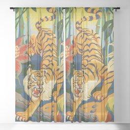 Tiger Slinking Through Jungle illustration - retro style Sheer Curtain