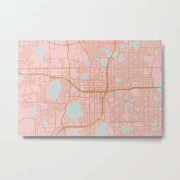 Orlando map, Florida Metal Print