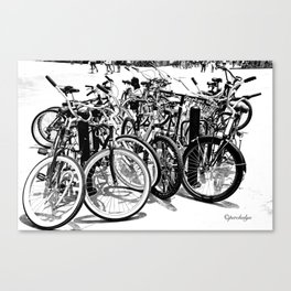 A gahtering of bicycles, black and white Canvas Print