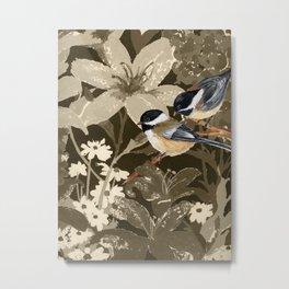 Bird-Chickadees with Lillies Metal Print