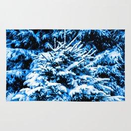 Snow covered Christmas tree Rug