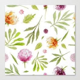 Watercolor floral vintage pattern Canvas Print