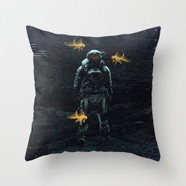 Space goldfish Throw Pillow