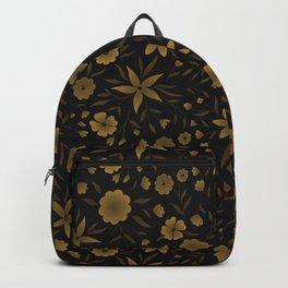Abstract Batik flowers seamless pattern. Gold on black background. Vector illustration Backpack