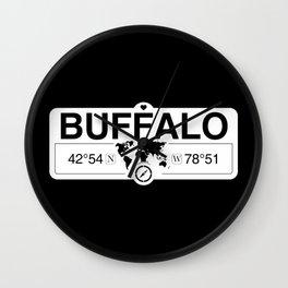 Buffalo New York GPS Coordinates Map Artwork with Compass Wall Clock