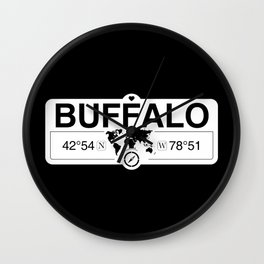 Buffalo New York GPS Coordinates Map Artwork with Compass Wall Clock
