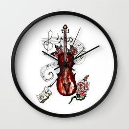 Brown Violin with Notes Wall Clock