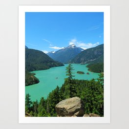 Snowy Mountain Turquoise Lake in Washington Art Print
