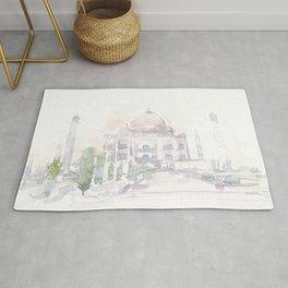 Watercolor landscape illustration_India - Taj Mahal Rug