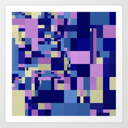 blue violet abstract mosaic Art Print