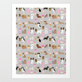 Small Dog Breeds with ice creams summer fun for the pet lover dog person in your life Art Print