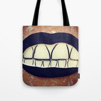 teeth Tote Bags featuring  Teeth by Hayleydonovan