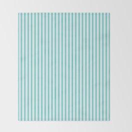 Classic Tiffany Aqua Blue and White Mattress Ticking Stripes Throw Blanket