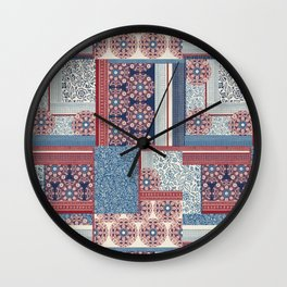 Woodblock Patchwork Wall Clock