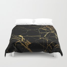 Black Gold Marble - Abstract, textured, marble pattern Duvet Cover