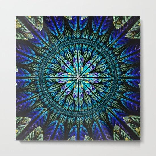 Blue fantasy flower and petals Metal Print