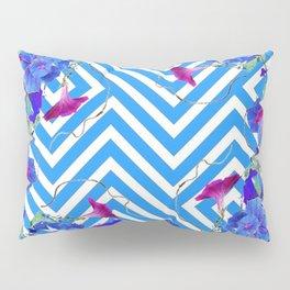 Blue & White Morning Glories Grey Pattern Art Pillow Sham