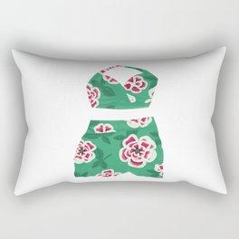Vintage Mint Green Floral Bathing Suit Rectangular Pillow