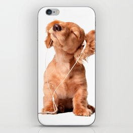 Young Puppy Listening to Music on Headphones iPhone Skin