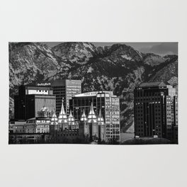 Salt Lake City Downtown Winter Skyline - Black And White Rug