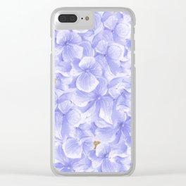 Elegant lavender white faux gold watercolor hydrangea flowers Clear iPhone Case