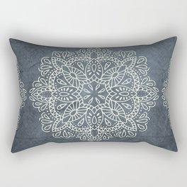 Mandala Vintage Ivory Blue Rectangular Pillow