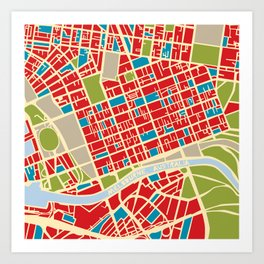 Vintage Style Map of Melbourne Art Print