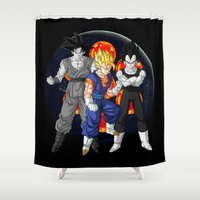 dbz Shower Curtains featuring DBZ - Mighty Fusion by Mr. Stonebanks
